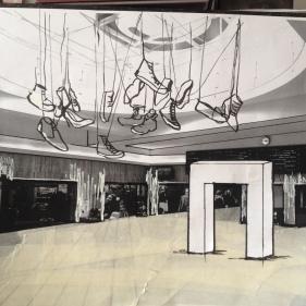 schets Installatie Odysseia Festival, Brussel Centraal Station 2015